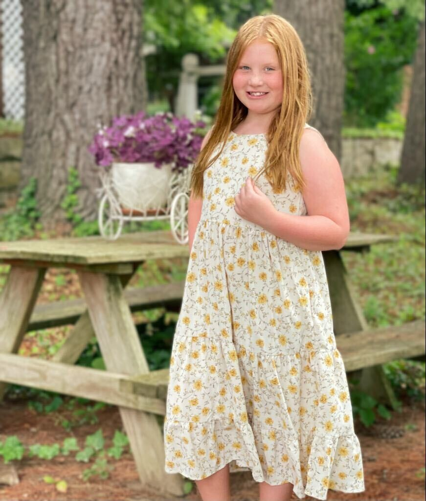 GY25381 Yellow Floral Dress