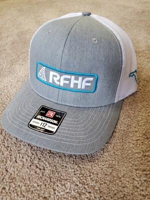Heather grey/white back/bright blue redfish logo