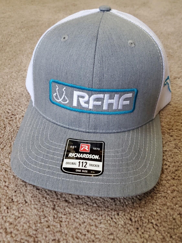 Heather grey/white back /blue hook logo