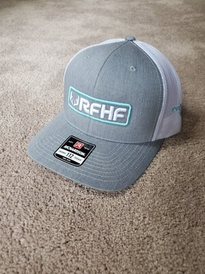 Heather Grey and White with teal accent Snapback