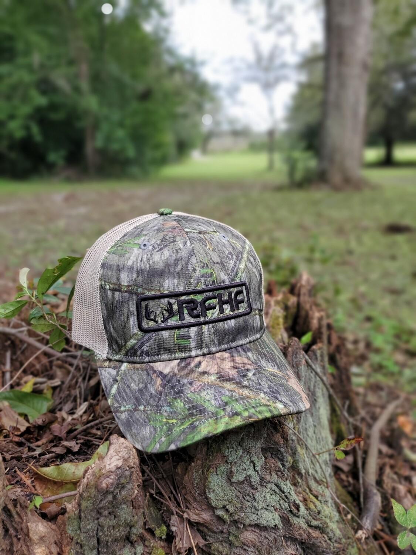 Mossy oak obsession/tan back /black front antler logo / deer side logo
