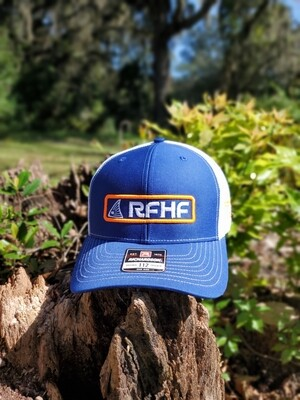 Blue and white with orange accent Snapback