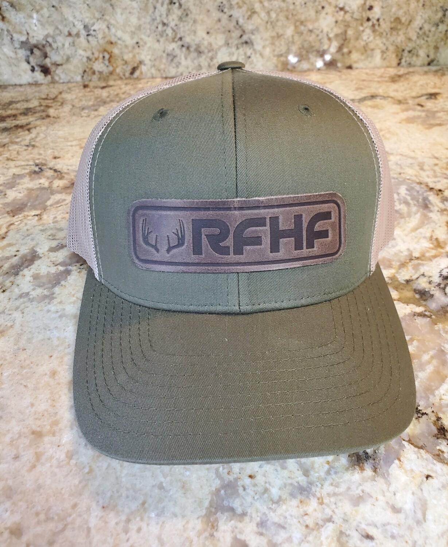 Leather patch antler logo /khaki/green