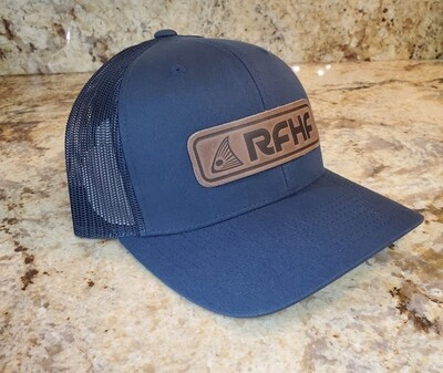 Leather redfish patch/navy hat
