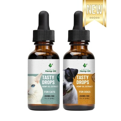 Tasty Hemp Oil Drops - CBD Oil for Dogs & Cats 1oz (200mg CBD)