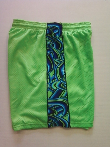 Lime Green Multi Colored Swirl Ribbon Shorts