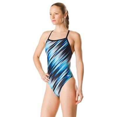 Speedo Blue Reigning Light Flyback Swimsuit
