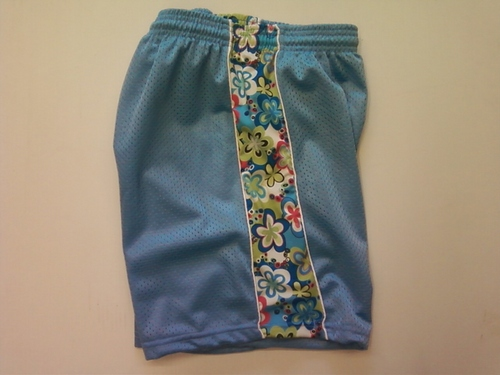 Light Blue Flowered Ribbon Shorts