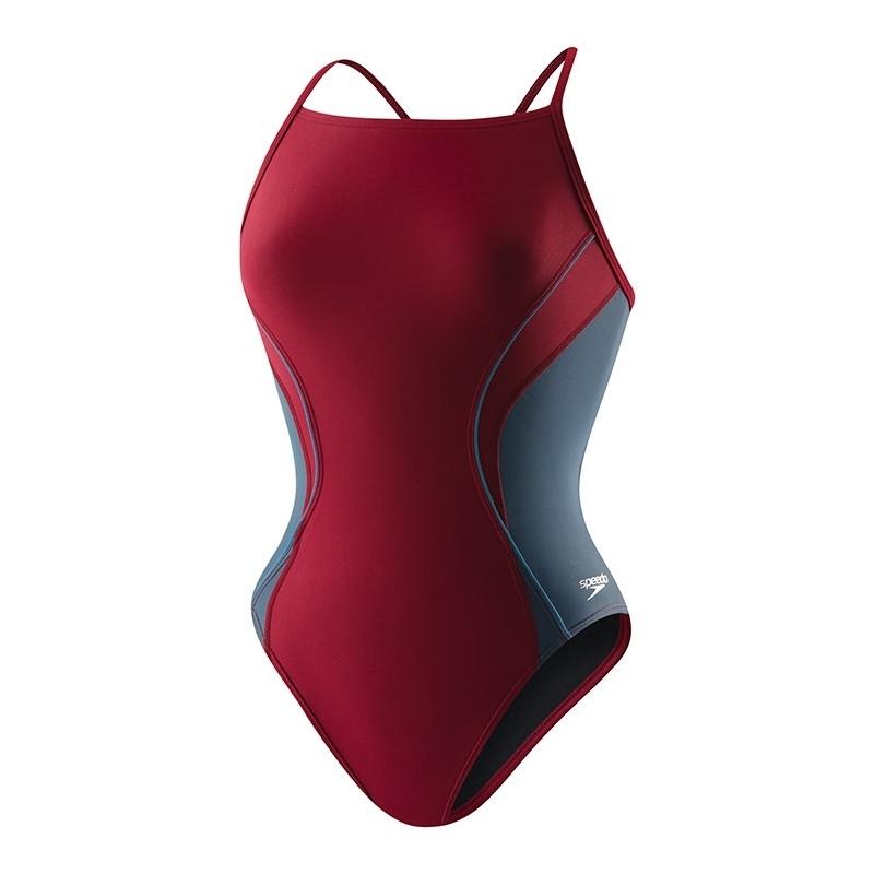 Speedo Maroon PowerFLEX Eco Revolve Splice Energy Back Swimsuit with Embroidered Logo