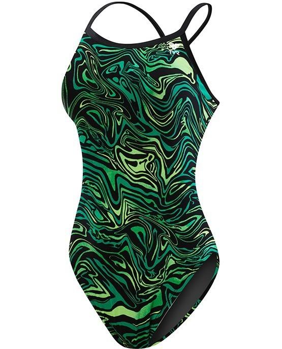 TYR Green Heat Wave Diamondfit One Piece Swimsuit