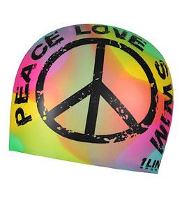 1Line Sports Peace Love Swim Tie Dye Silicone Swim Cap