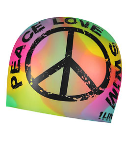 1Line Sports Peace Love Swim Tie Dye Silicone Swim Cap