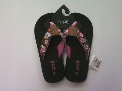 ECSA Women's Pink Flowered Sandals