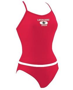Speedo Lifeguard Red Tankini Top & Bottom Flyback