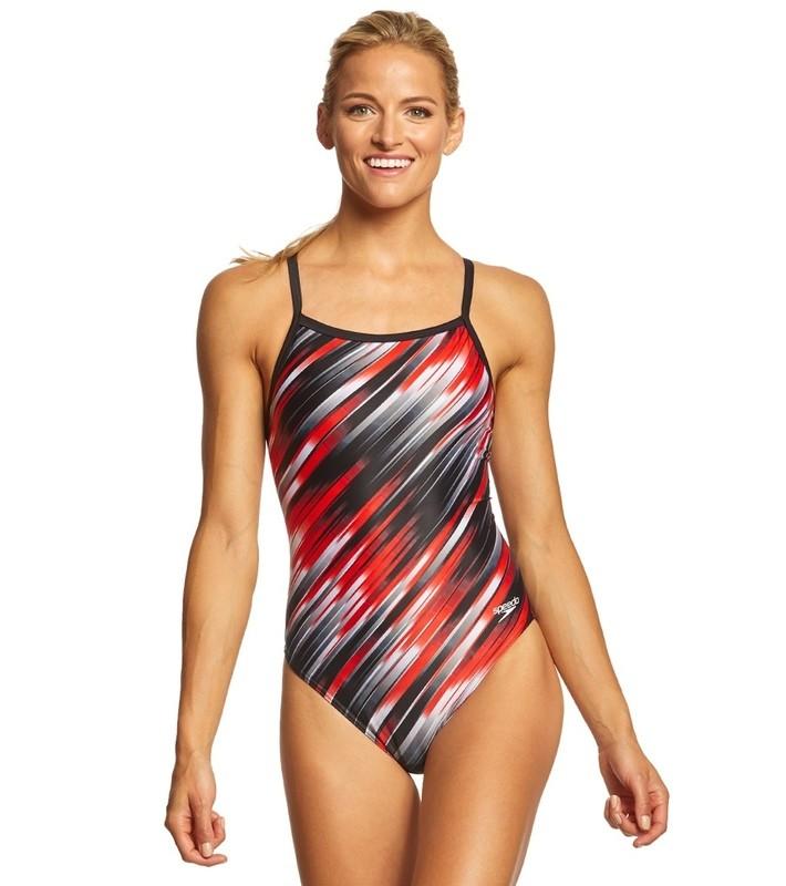 Speedo Red Reigning Light Flyback Swimsuit