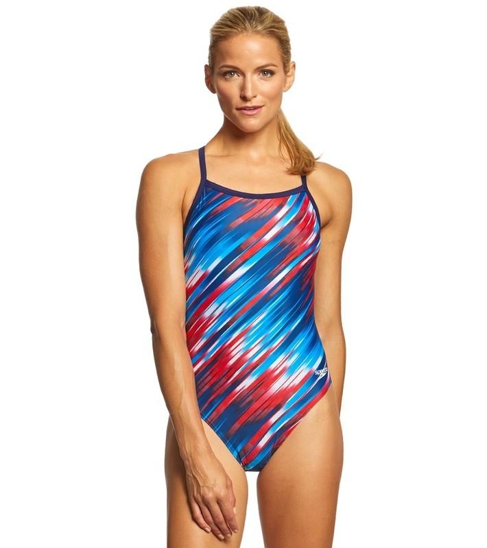 Speedo Red/White/Blue Reigning Light Flyback Swimsuit