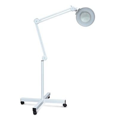 Лампа с увеличительным стеклом светодиодная на штативе напольная на колесиках