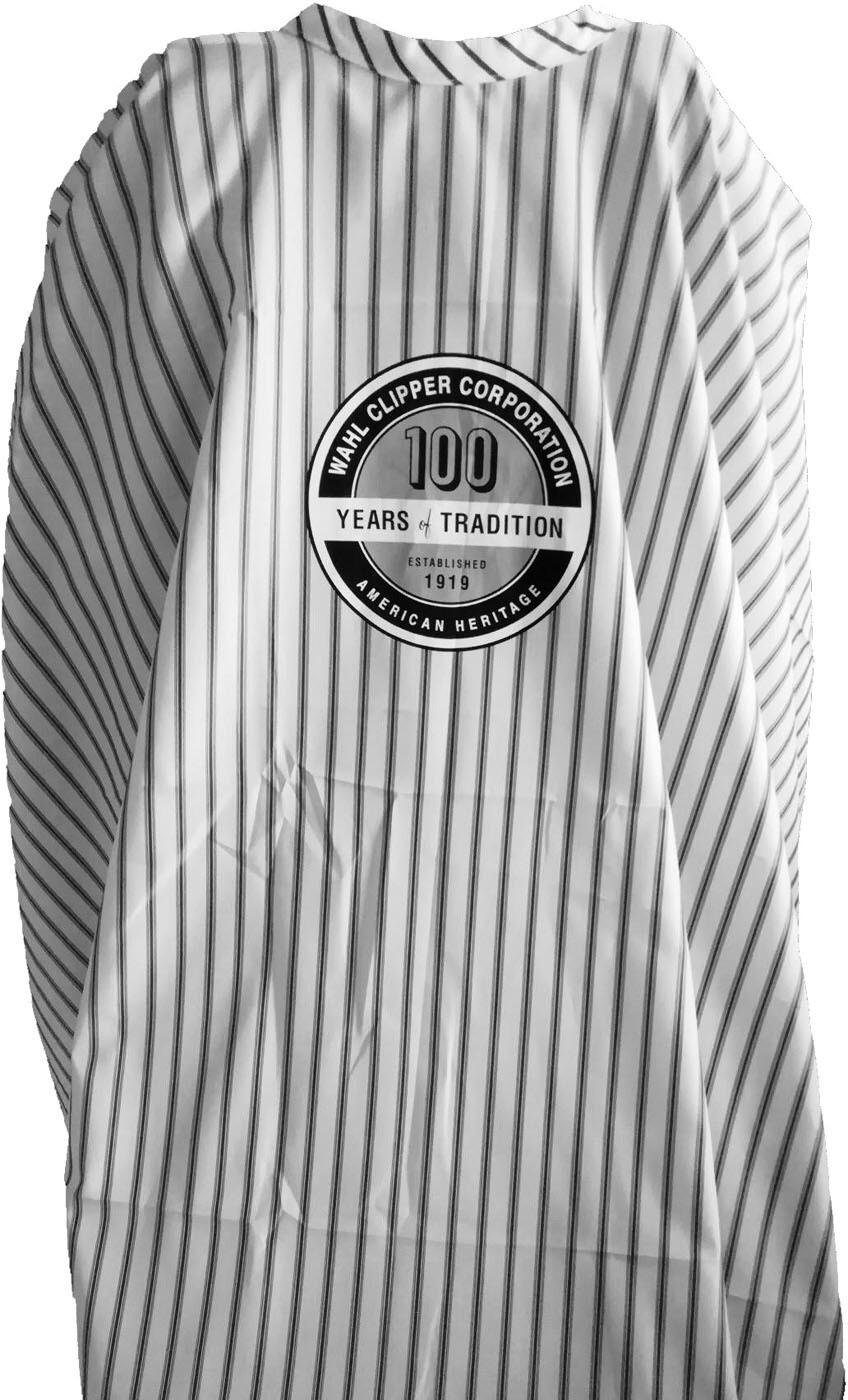 Пеньюар барберский Wahl Barber Cape Pinstripes 100 Years Logo 0093‑6055 в полоску