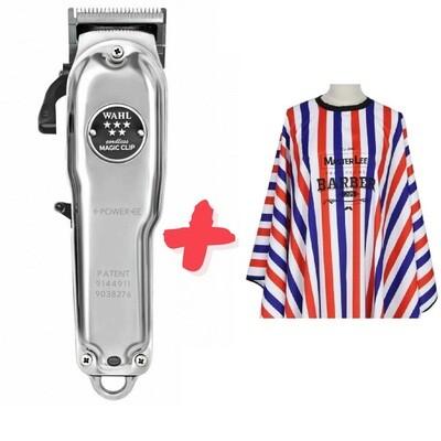 Машинка для стрижки Wahl Magic Clip Cordless Metal 8509-016 + Пеньюар парикмахера и барбера 2112