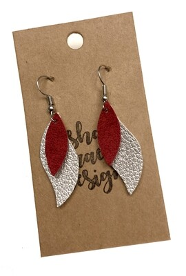 Silver & Red Layered Leaf