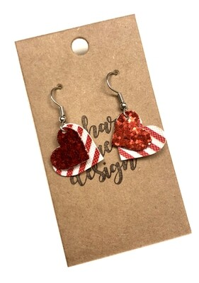 Red Glitter Layered Small Hearts