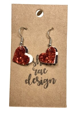 Glitter Red Layered Small Hearts