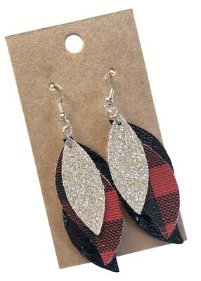 Black, Buffalo Print Red, Glitter Silver Layered Wavy Leaf