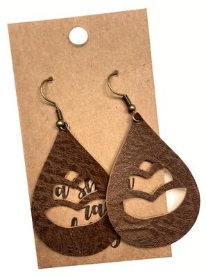 Brown Leather Tear Drop Cutouts