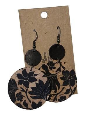 Double Circle Cork Black Flowers
