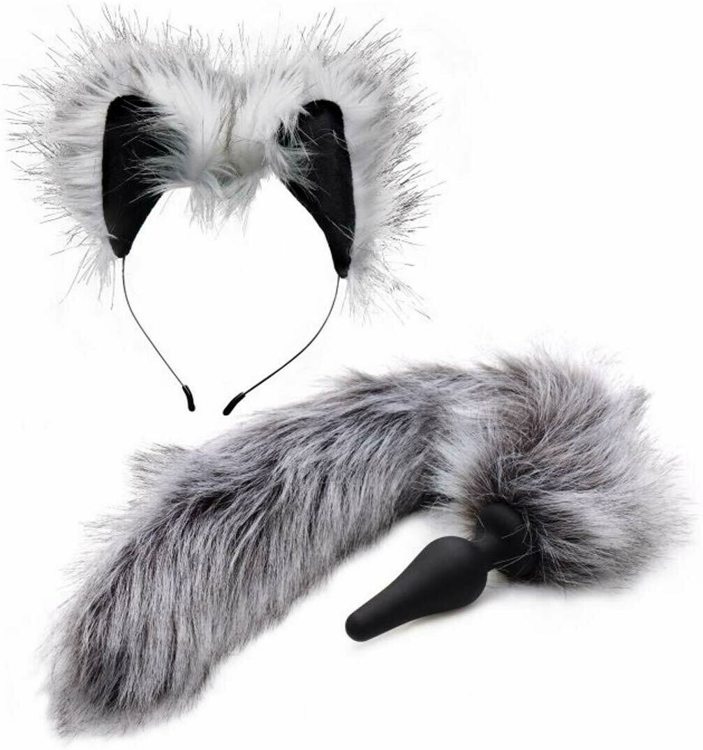 Tailz Grey Fox Tail Faux Fur Anal Plug