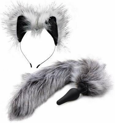 Tailz Grey Fox Tail Faux Fur Anal Plug