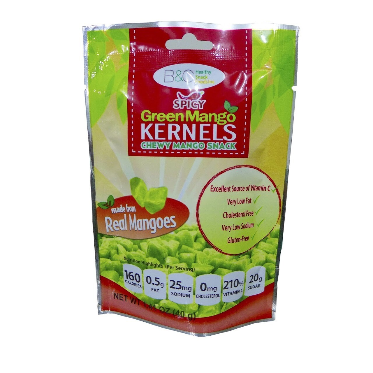B&C Spicy Green Mango Chews 40g pouch
