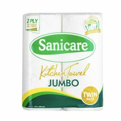 Sanicare Jumbo KITCHEN TOWEL Twin Pack 2 Rolls