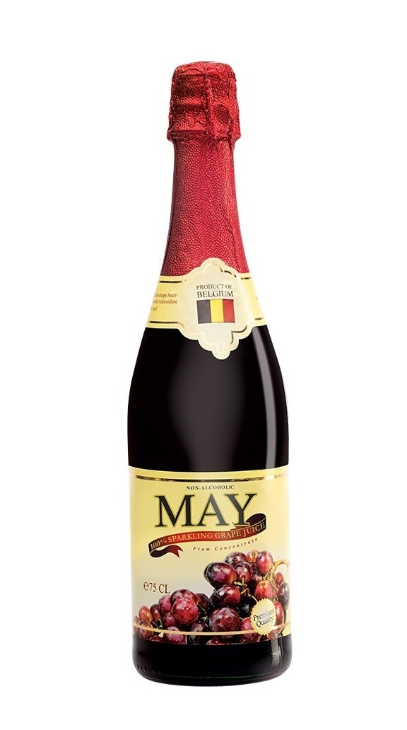 May Non Alcoholic 100% SPARKLING RED Grape Juice 750ml