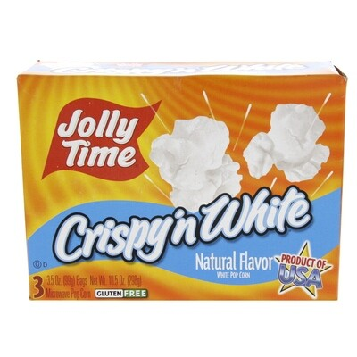 Jolly Time CRISPY 'N WHITE Natural Flavor White Popcorn (Microwave Popcorn) 3 x 99g bags