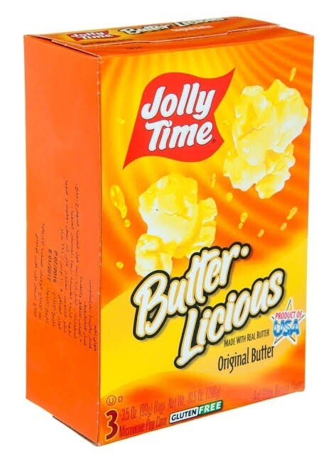 Jolly Time BUTTER LICIOUS made with real butter Popcorn (Microwave Popcorn) 3 x 99g bags