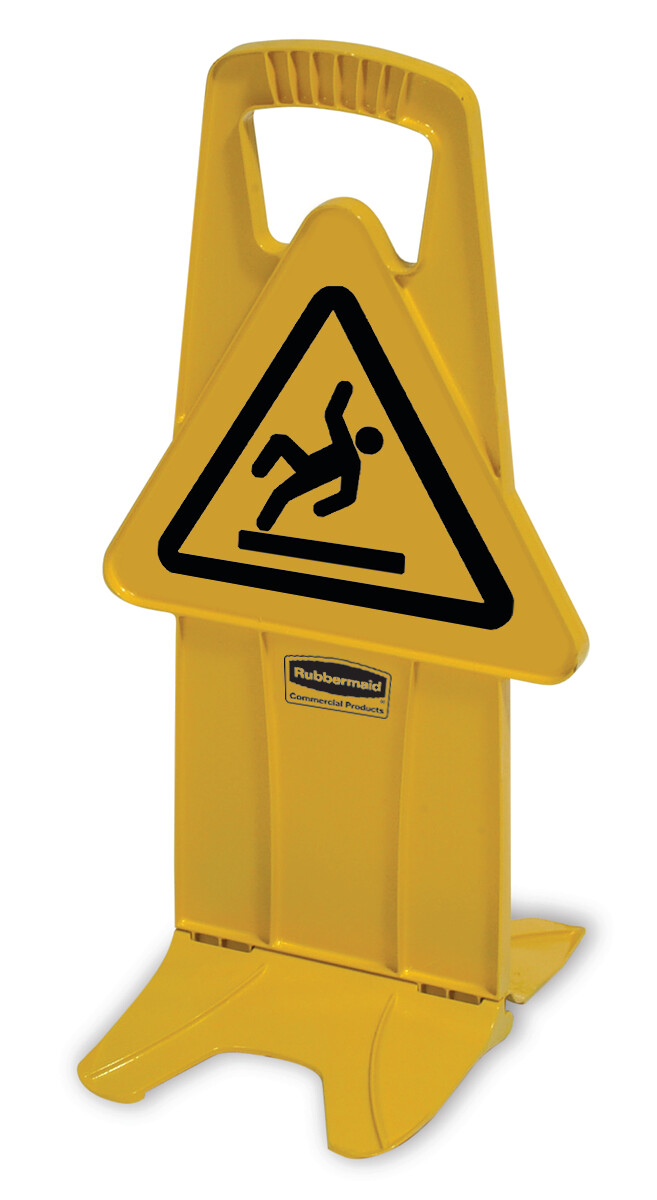 Rubbermaid YELLOW STABLE SAFETY SIGN with INTL. WET FLOOR SYMBOL
