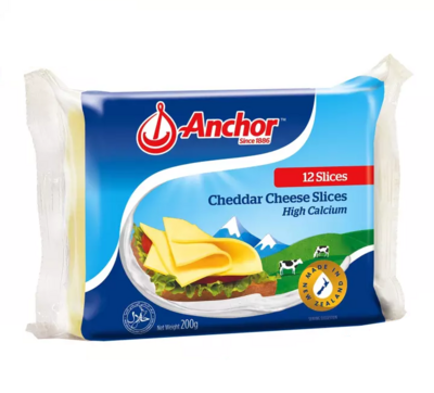 Anchor Processed Cheddar Cheese Slices - Individually Wrapped Singles 12 Slices 200g