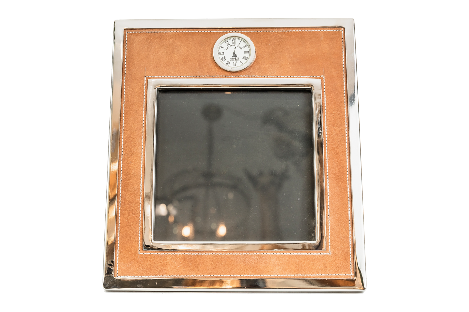 Leather & Nickel Frame Clock