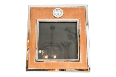 Leather & Nickel Frame Clock