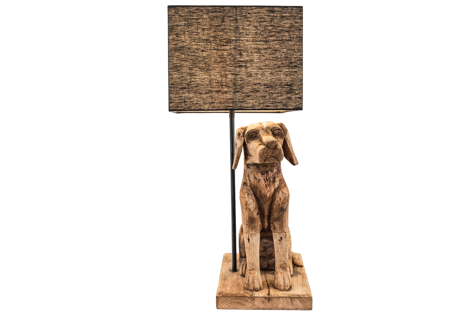 Large Wooden Dog Table Lamp