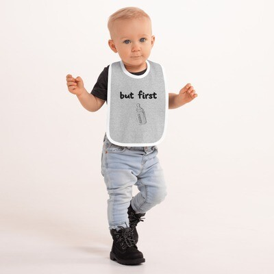 I CAN'T Without COFFEE- But First Baba Embroidered Baby Bib (GRAY)