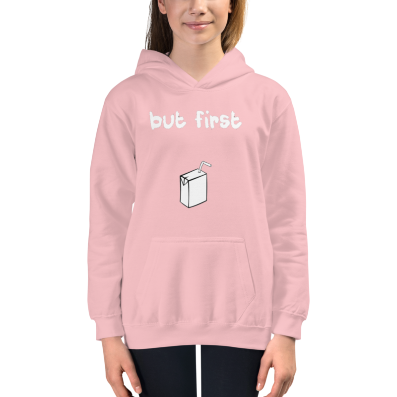 I CAN'T Without COFFEE- BUT FIRST JUICE Kids Hoodie