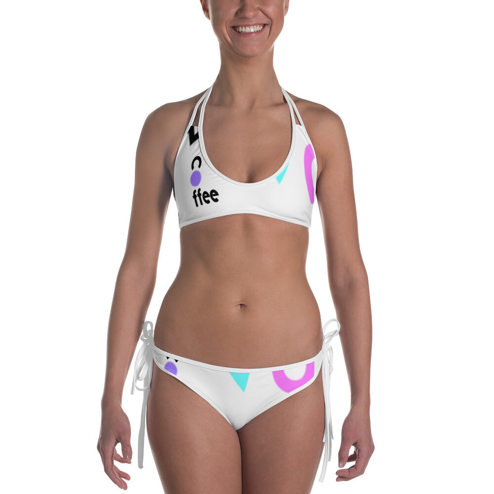 I CAN'T Without COFFEE-She Came From The 80's (ONE) Reversible Bikini