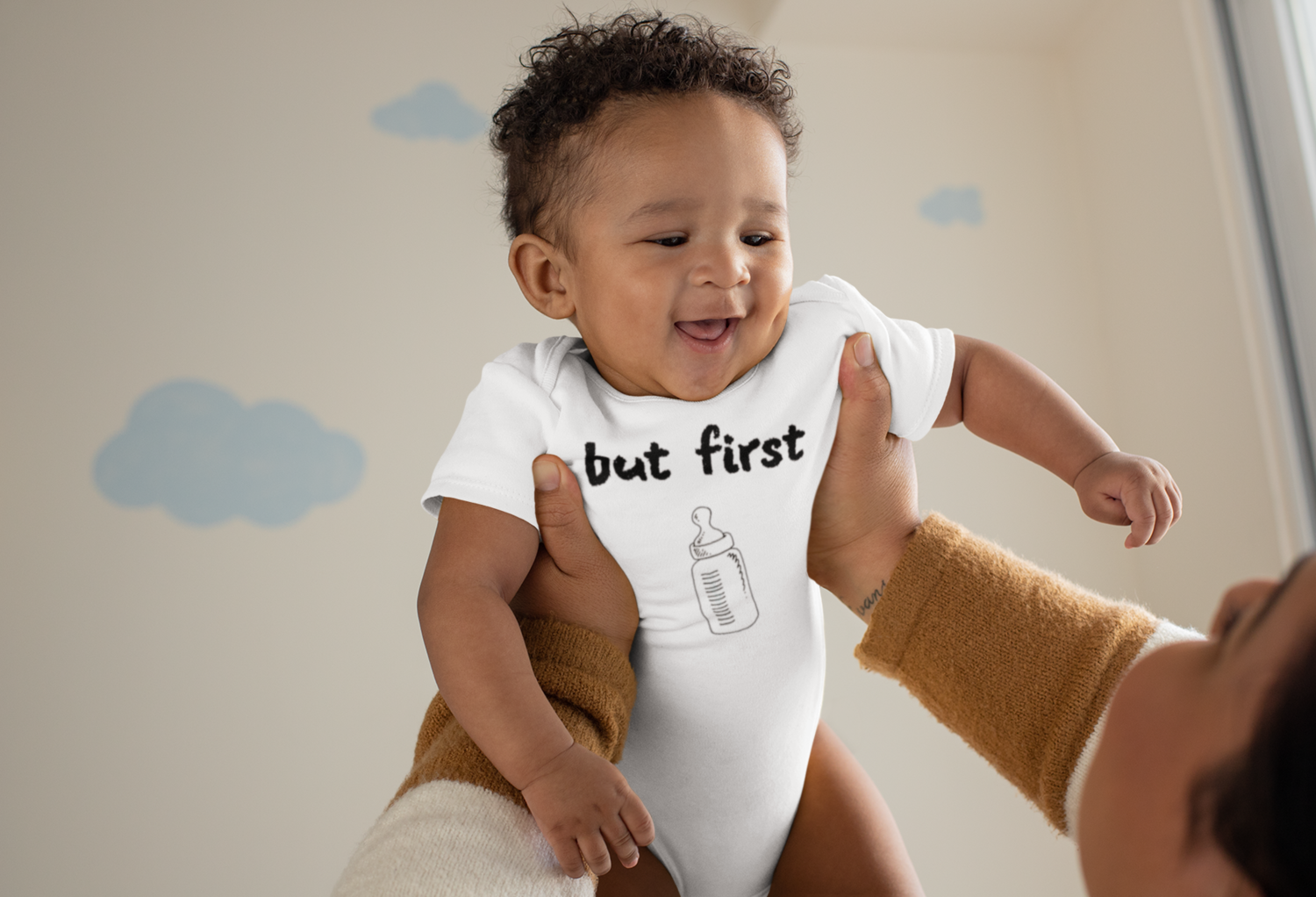 I CAN'T Without COFFEE-BUT FIRST Baba Short Sleeve Baby One Piece/Onesie