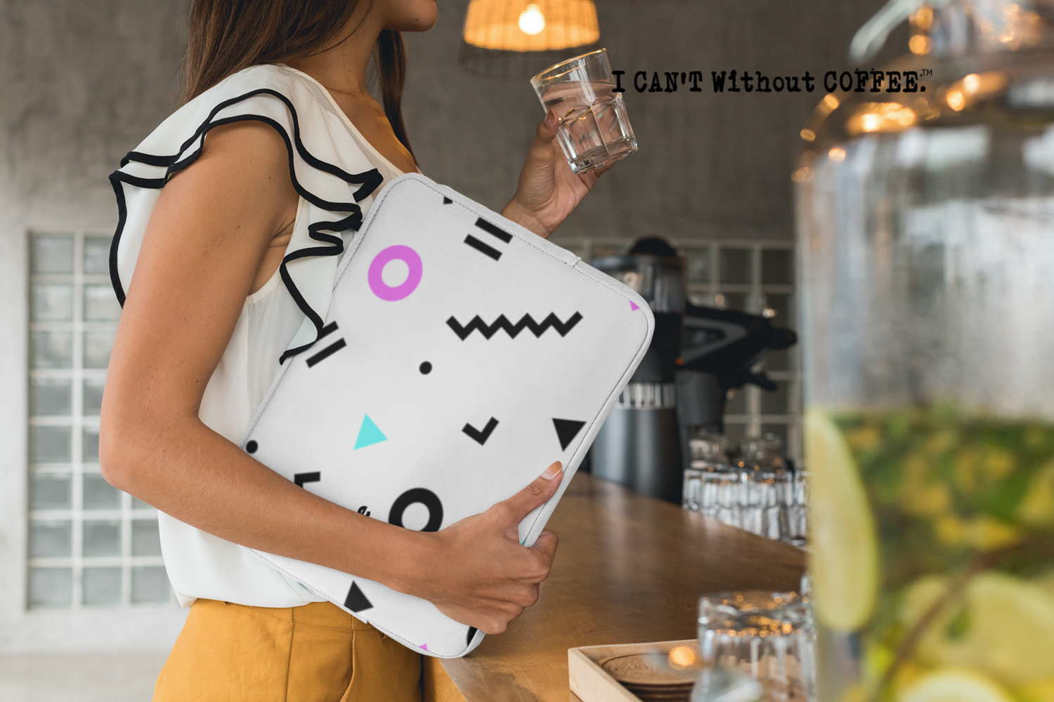 I CAN'T Without COFFEE- She Came From The 80's (ONE) Laptop Sleeve