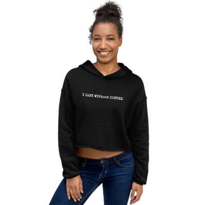 I CAN'T Without COFFEE Logo Crop Hoodie