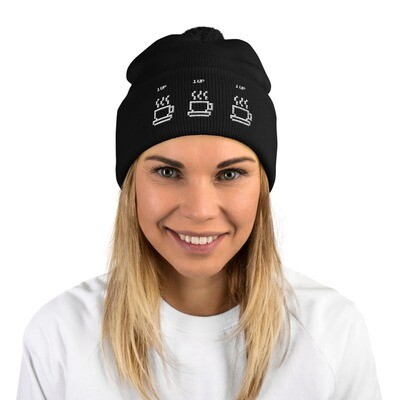 I CAN'T Without COFFEE®️ - Women's 1UP Pom-Pom Beanie