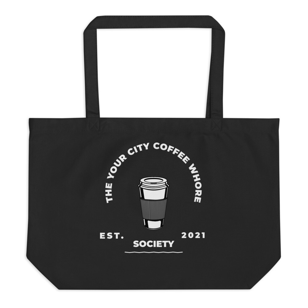 'Coffee Whore' Large Customized Organic Tote Bag