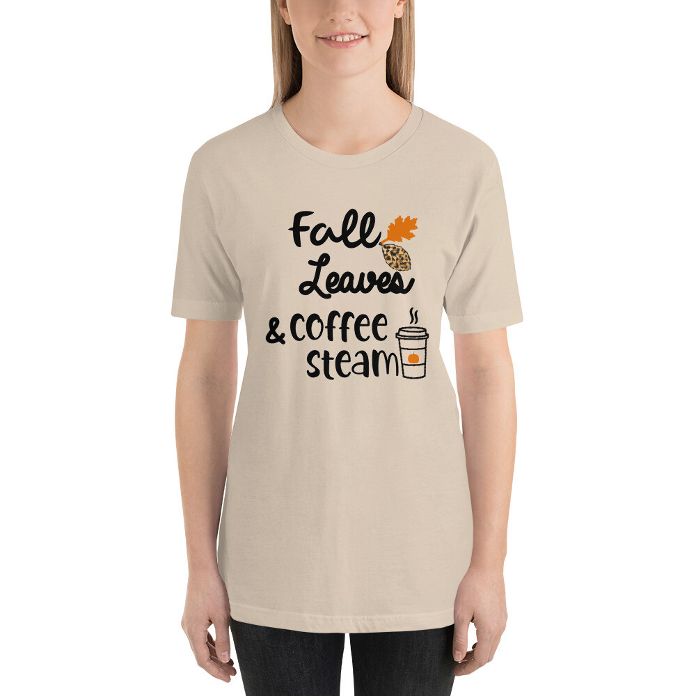 'Fall Leaves and Coffee Steam' Women's Fall T-Shirt